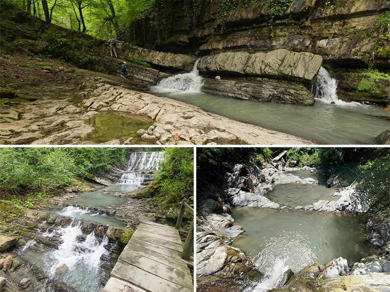 Панорама водопадов реки Змейка, Сочи